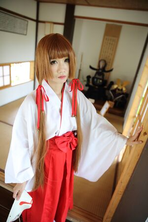 kink: Japanese Women in Traditional Dress Miko Stock Photo