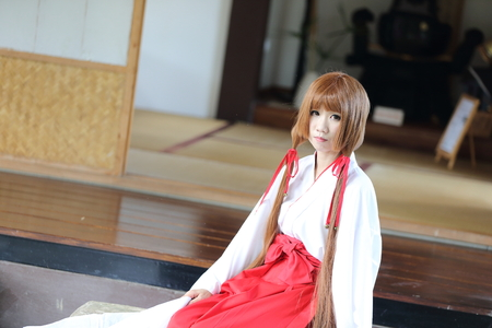 female shaman: Japanese Women in Traditional Dress Miko Stock Photo
