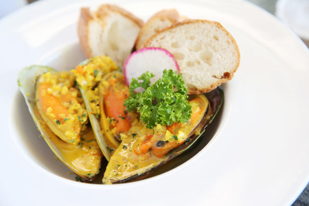 mussel with cream sauce photo