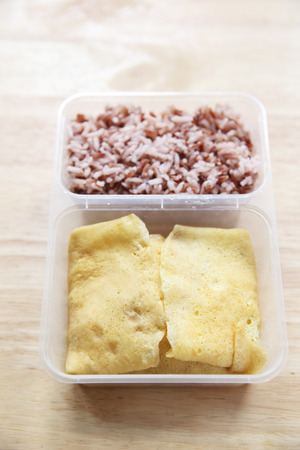 bento: Clean food egg and rice in bento
