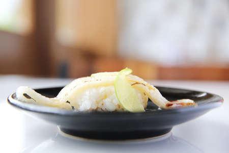 halibut: Japanese cuisine Enkawa (halibut) Sushi Stock Photo