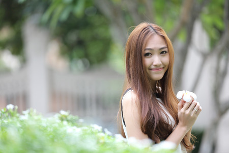 field of thai: Beautiful young woman