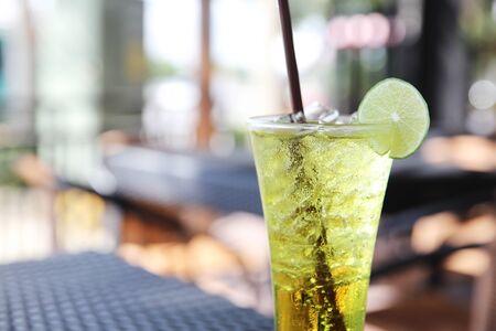 bubble acid: Melon soda witn lime Stock Photo