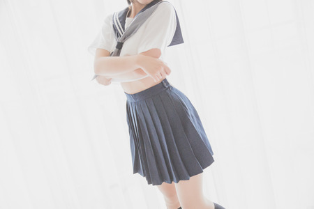 asian japanese girl student in school uniform Take off shirt
