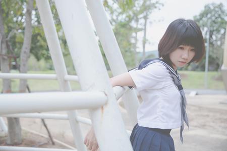 asian japanese girl student in school uniform Stock Photo