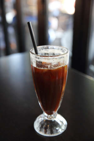 americano: Ice Americano coffee drinking