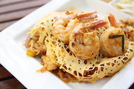 fried noodle: Thai food padthai fried noodle with shrimp Stock Photo