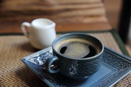 americano: Americano coffee in wood background