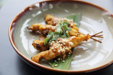 peanut sauce: chicken satay, sate ayam and lontong with peanut sauce