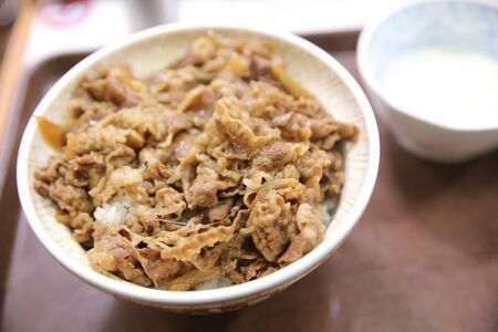 japanese cookery: Gyudon , Japanese beef rice bowl.
