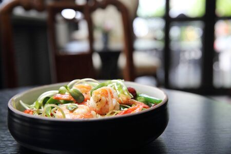 mie noodles: Chinese food shrimp and green vegetable with noodles