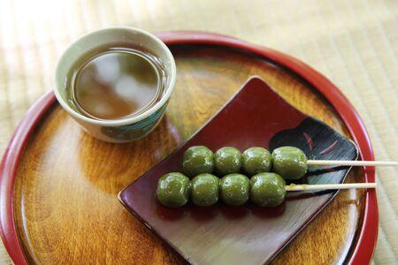 japanese dessert: Japanese dessert matcha dango Stock Photo