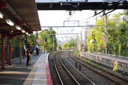 KYOTO - June 2 :railway station with people and town . JAPAN June 2 , 2016