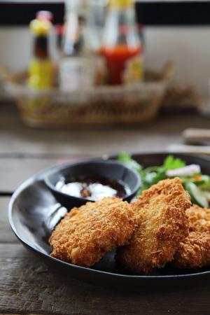 Fried shrimp meat ball thai food
