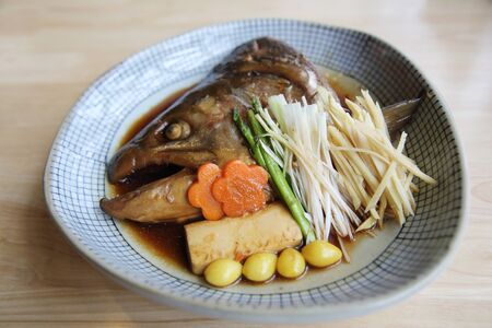 fish head: Fish head cooked soy sauce Japanese food