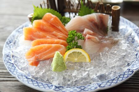 Salmon and red snapper sashimi Japanese food