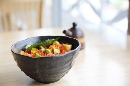 ova: sashimi seafood and egg rice bowl - mix sashimi donburi , japanese food