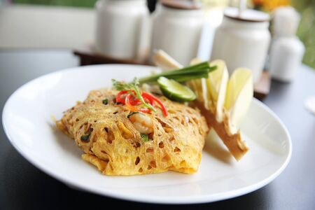 Thai food padthai fried noodle with shrimp Stock Photo
