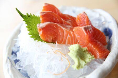 salmon sashimi on wood background japanese food Stock Photo