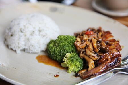 chicken teriyaki with rice Stock Photo