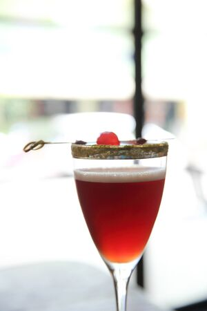 sweet vermouth: red cocktail in close up