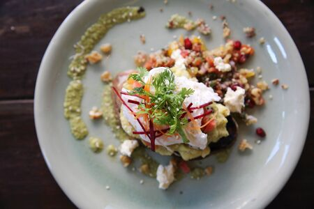 benedict: eggs benedict with asparagus sauce