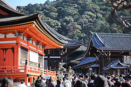 shinto: KYOTO - December 31: tourists visit the Kiyomizu temple on December 31,2016  in Kyoto, Japan.