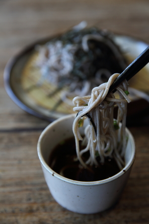 boned: Soba noodles on wood background , Japanese food