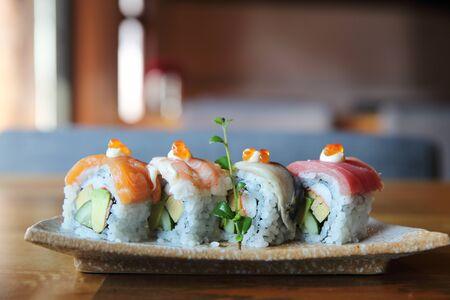 Mix maki sushi roll japanese food Stock Photo