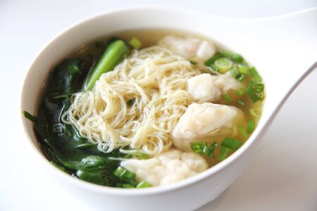 Noodles and shrimps dumplings Chinese food Stock Photo