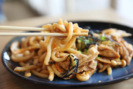 Yakisoba pork on wood , Japanese food Stock Photo