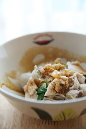 Beef with Fine Cut White Rice Noodle on Thicken Soup , Thai food Stock Photo