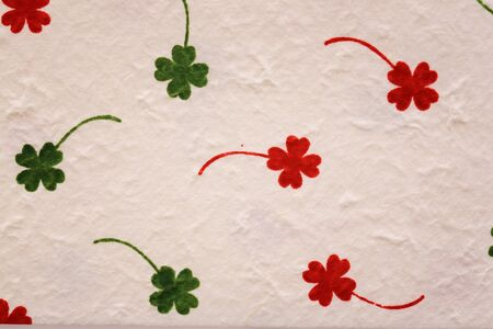 cloverleaf on Mulberry paper texture background