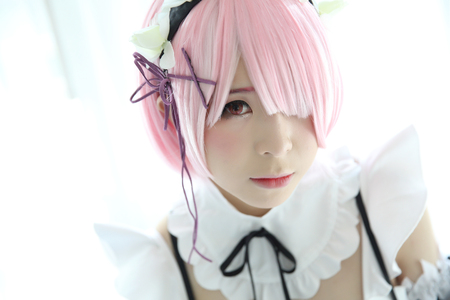 Japan anime cosplay girl portrait in white tone 写真素材 - 97788323