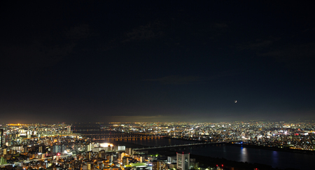 Osaka urban cityscape landscape background at twilight night