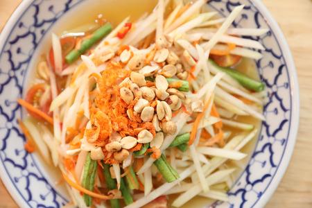 Green papaya salad or Som tam in Thai street food