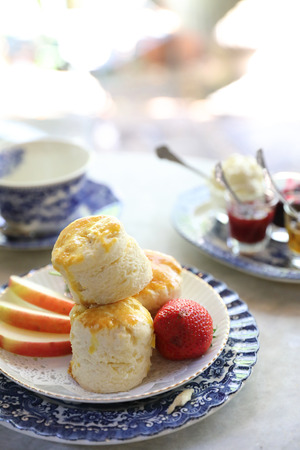 Scones with jam and tea english baked dessert