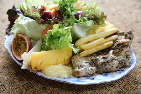Healthy food Chicken steak with vegetables