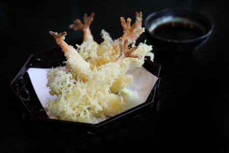 Tempura Fried shrimp Japanese style Stock Photo