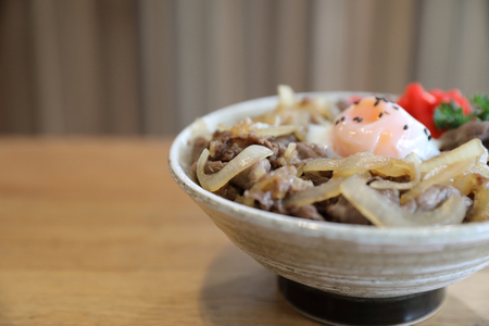 Japanese beef on rice bowl Gyudon , Japanese food