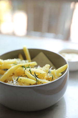 French fires , Fires potato in bowl appetizer Stock Photo