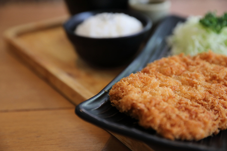 Japanese deep fried pork cutlet with rice , Japanese food