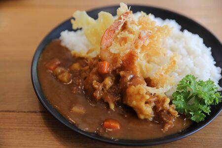 Japanese curry rice with fried shrimp tempura Japanese food