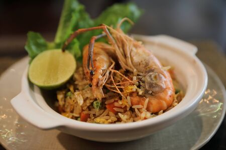Fried rice with shrimp , Traditional Thai food