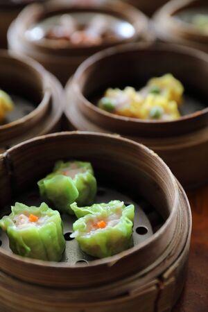 Dim sum , Steam Dumpling in wood basket Chinese food