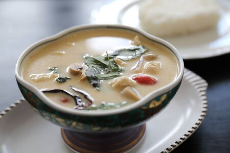 Coconut milk soup with chicken and rice, traditional Thai food Reklamní fotografie
