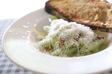 Salad with bread in white tone appetizer
