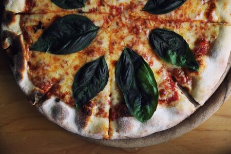 pizza margherita, Italian Pizza with Tomatoes, Basil and Mozzarella Cheese on wood background Zdjęcie Seryjne