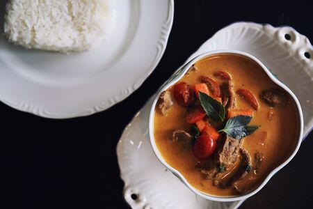 Roasted Duck in Red Curry with rice, Traditional Thai food Zdjęcie Seryjne