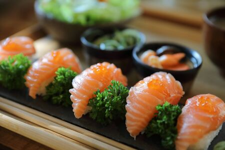 Salmon Sushi with soup salad Japanese local food